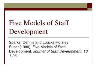 Five Models of Staff Development