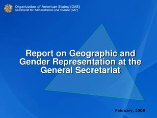 Report on Geographic and Gender Representation at the General Secretariat