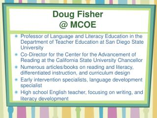 Doug Fisher @ MCOE