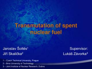 Transmutation of spent nuclear fuel