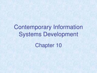 Contemporary Information Systems Development