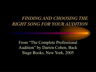 FINDING AND CHOOSING THE RIGHT SONG FOR YOUR AUDITION