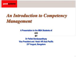 An Introduction to Competency                    Management