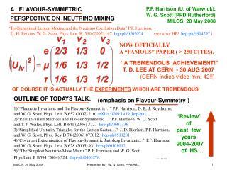 """1) """"Plaquette Invariants and the Flavour-Symmetric…"""" P.F. Harrison, D. R. J. Roythorne,"""