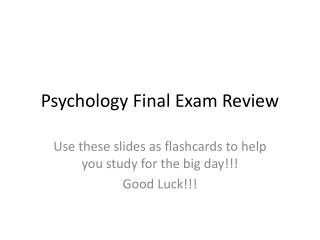 Psychology Final Exam Review