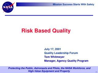 Risk Based Quality