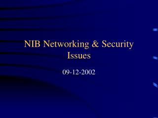 NIB Networking & Security Issues