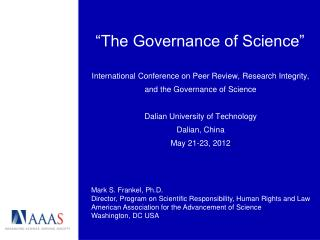 """The Governance of Science"""