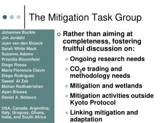 The Mitigation Task Group