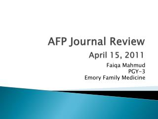 AFP Journal Review April 15, 2011