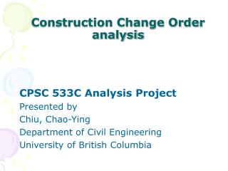 Construction Change Order analysis