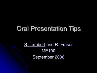 Oral Presentation Tips