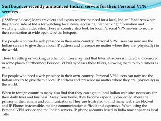 SurfBouncer recently announced Indian servers for their Pers