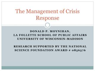 The Management of Crisis Response