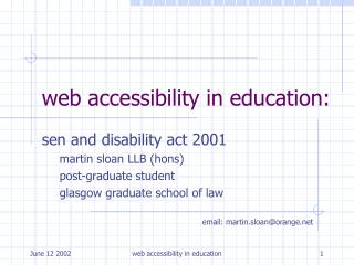 web accessibility in education: