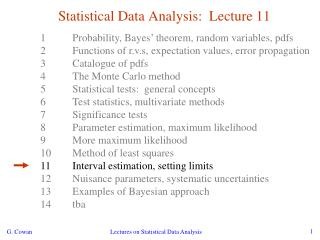 Statistical Data Analysis:  Lecture 11