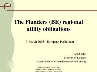 The Flanders (BE) regional utility obligations