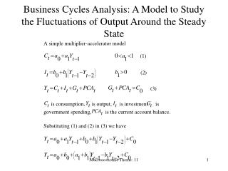 Business Cycles Analysis: A Model to Study the Fluctuations of Output Around the Steady State