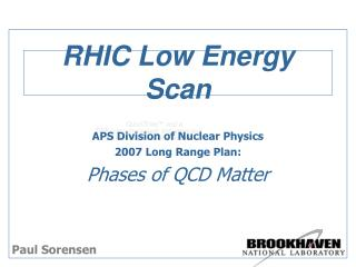 RHIC Low Energy Scan