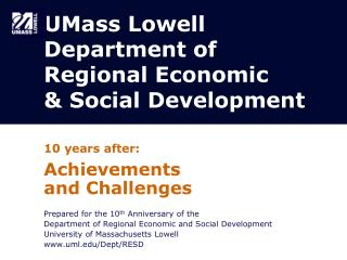 UMass Lowell Department of Regional Economic  & Social Development