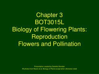 Chapter 3 BOT3015L Biology of Flowering Plants:  Reproduction Flowers and Pollination