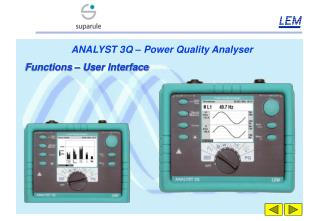 ANALYST 3Q – Power Quality Analyser Functions – User Interface