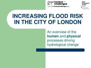 INCREASING FLOOD RISK IN THE CITY OF LONDON