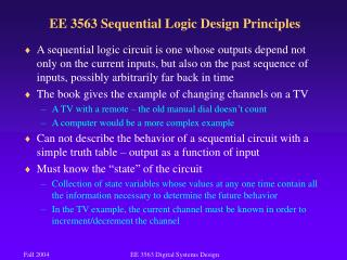 EE 3563 Sequential Logic Design Principles