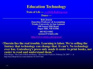 Education Technology Train of Life ---  ....TOLRailway.wav Dance ---