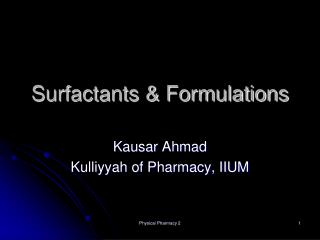 Surfactants & Formulations