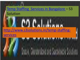 Temp Staffing Services in Bangalore-S3 Solution