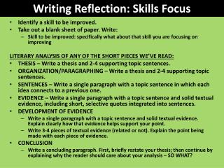 Writing Reflection: Skills Focus