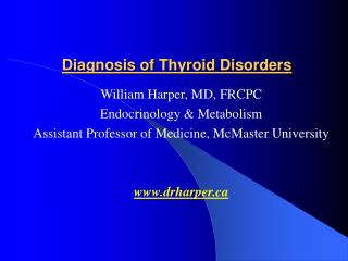 Diagnosis of Thyroid Disorders