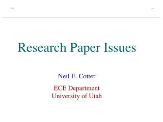 Research Paper Issues