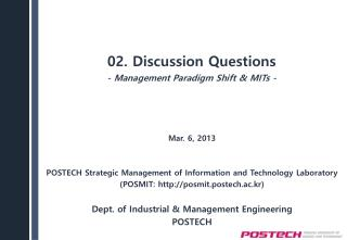 02. Discussion  Questions -  Management Paradigm Shift &  MITs -