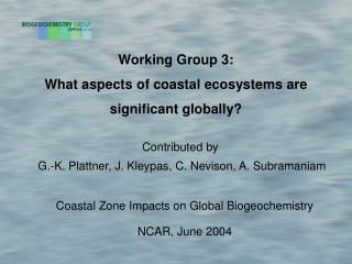 Working Group 3: What aspects of coastal ecosystems are significant globally?