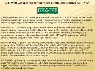 D.S. Wolf Group is supporting 'Keep a Child Alive's Black Ba