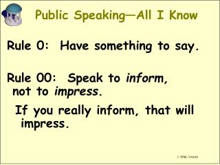 Public Speaking—All I Know