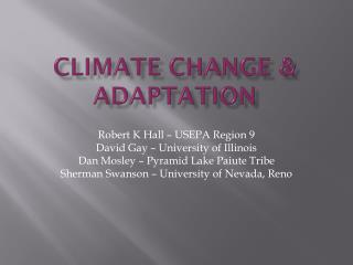 Climate Change & Adaptation