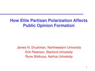 How Elite Partisan Polarization Affects Public Opinion Formation