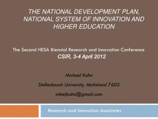 The national development plan, national system of innovation and higher education