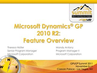 Microsoft Dynamics ®  GP 2010 R2:  Feature Overview