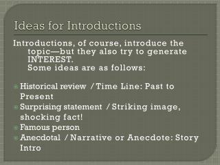 Ideas for Introductions