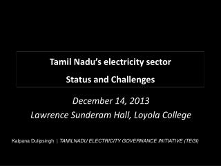 Tamil Nadu's electricity sector Status and Challenges
