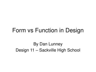 Form vs Function in Design