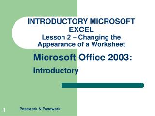 INTRODUCTORY MICROSOFT EXCEL Lesson 2 – Changing the  Appearance of a Worksheet