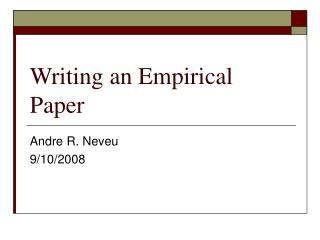 Writing an Empirical Paper
