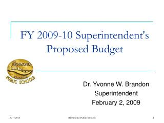 FY 2009-10 Superintendent's Proposed Budget