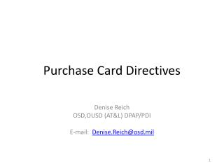 Purchase Card Directives