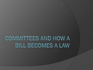Committees and How a Bill Becomes A Law